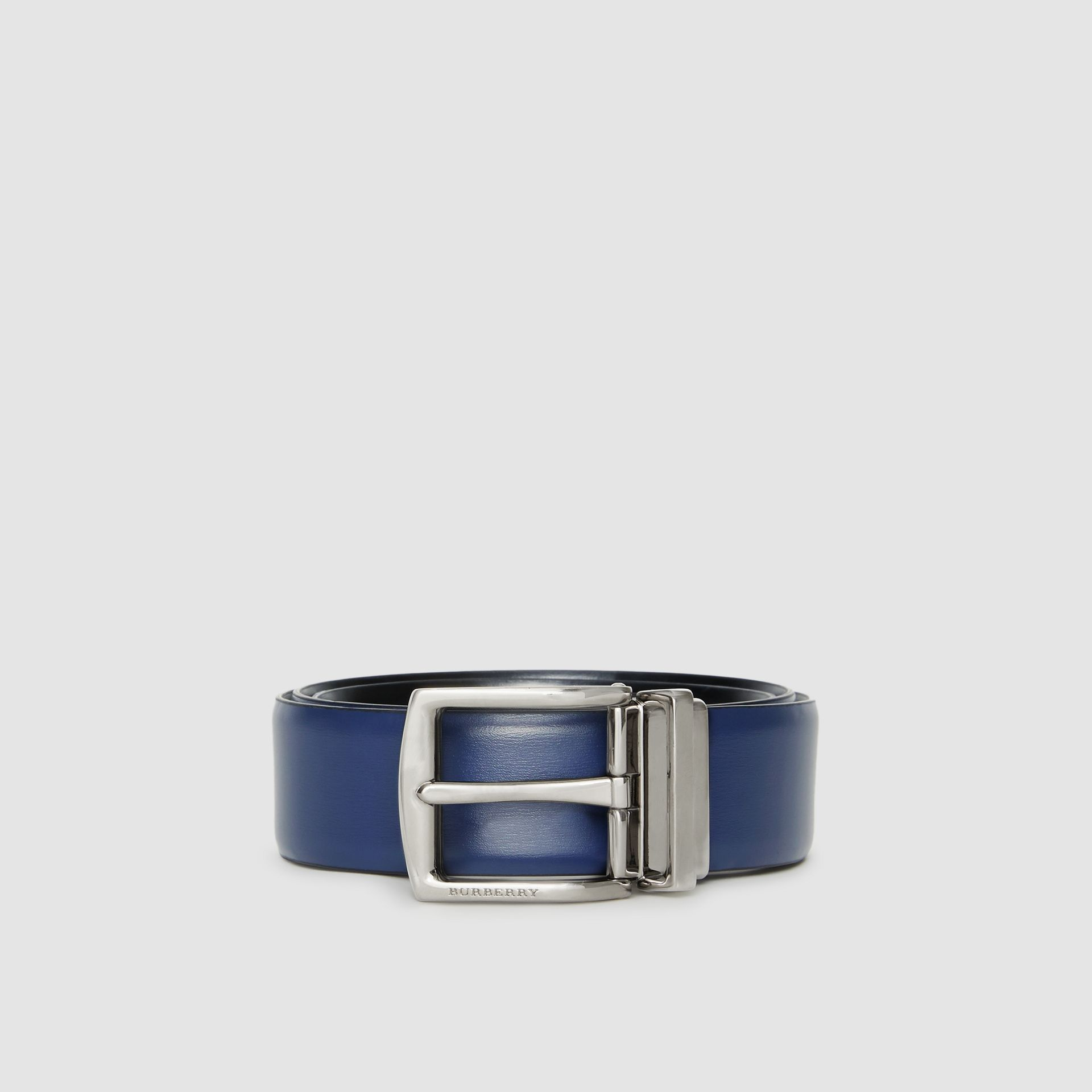 Reversible Leather Belt in Navy/black - Men | Burberry - gallery image 3