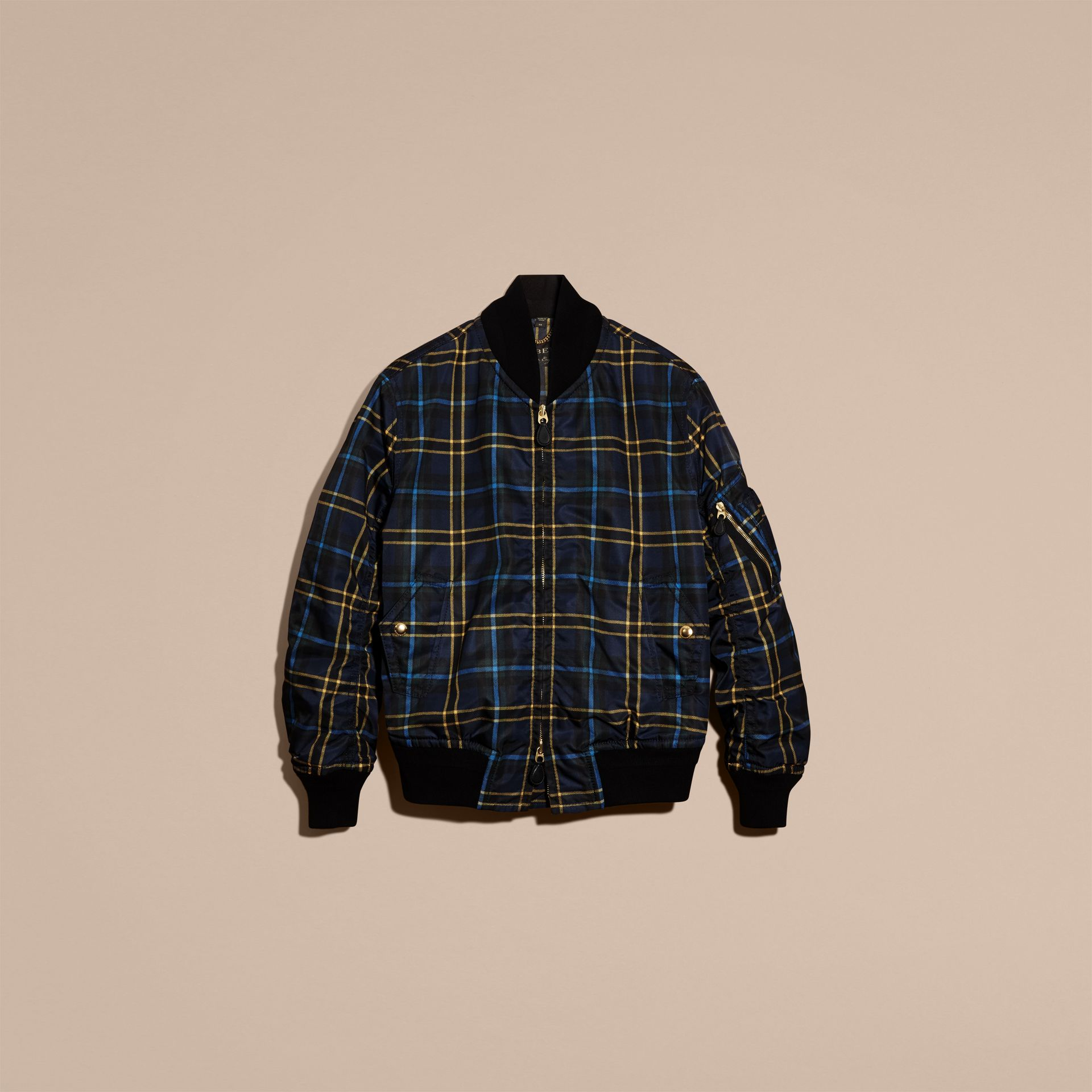 Navy Check Oversize Bomber Jacket - gallery image 4