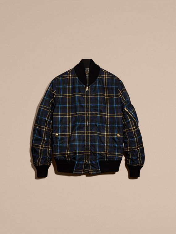Navy Check Oversize Bomber Jacket - cell image 3