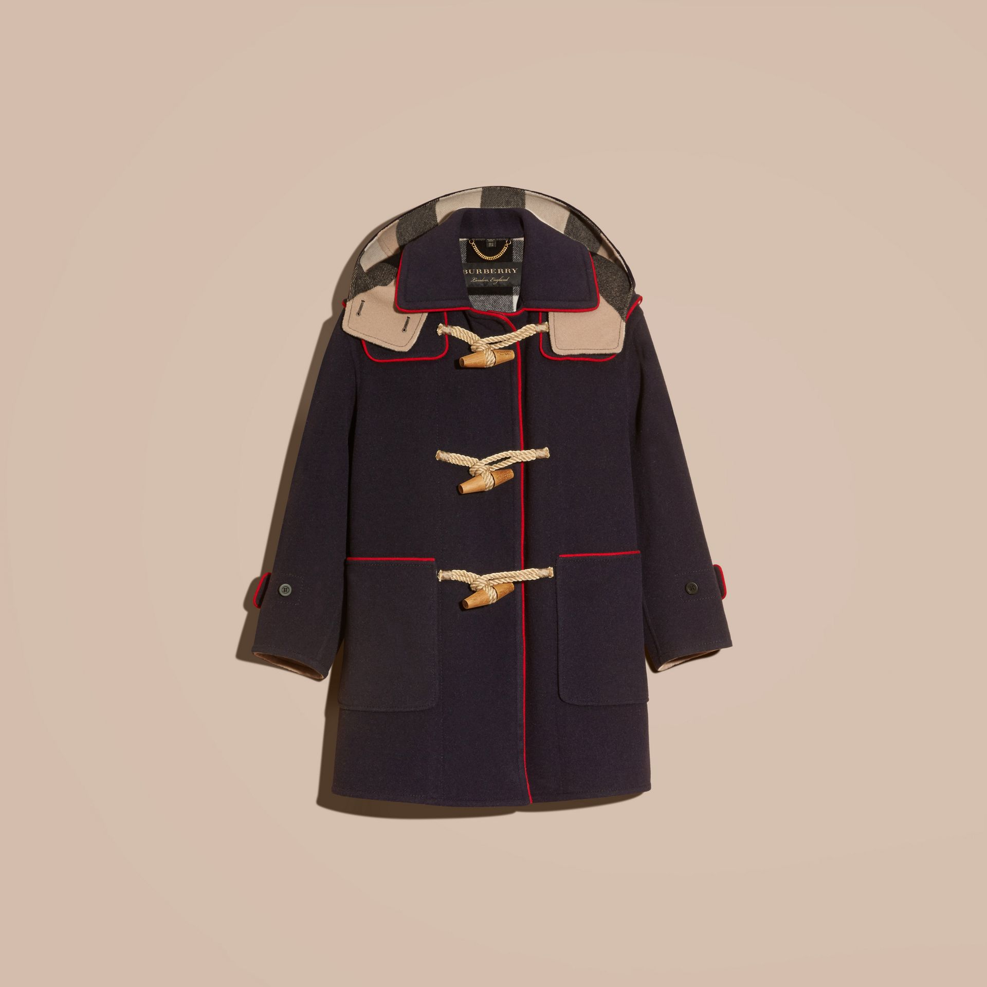 Navy Double-faced Wool Blend Duffle Coat - gallery image 4