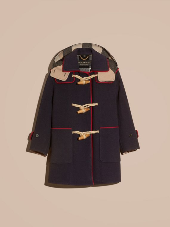 Navy Double-faced Wool Blend Duffle Coat - cell image 3