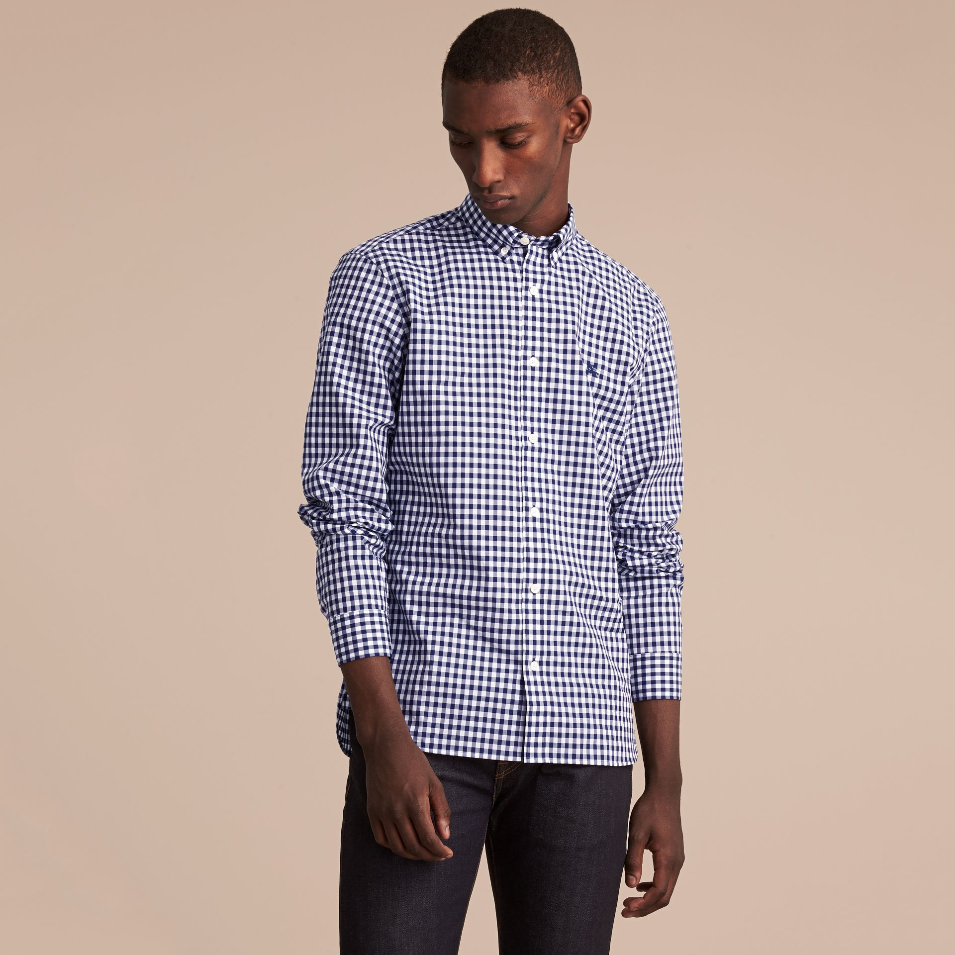 Button-down Collar Gingham Cotton Shirt in Navy - Men | Burberry - gallery image 6