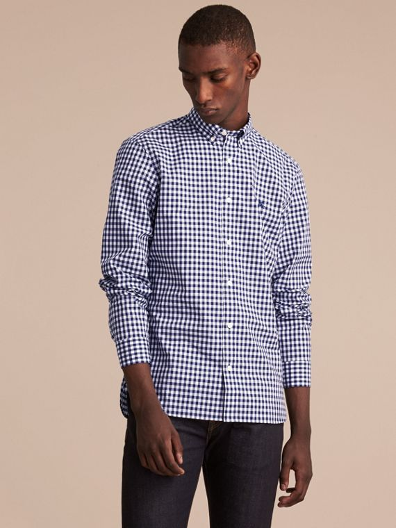 Button-down Collar Gingham Cotton Shirt Navy