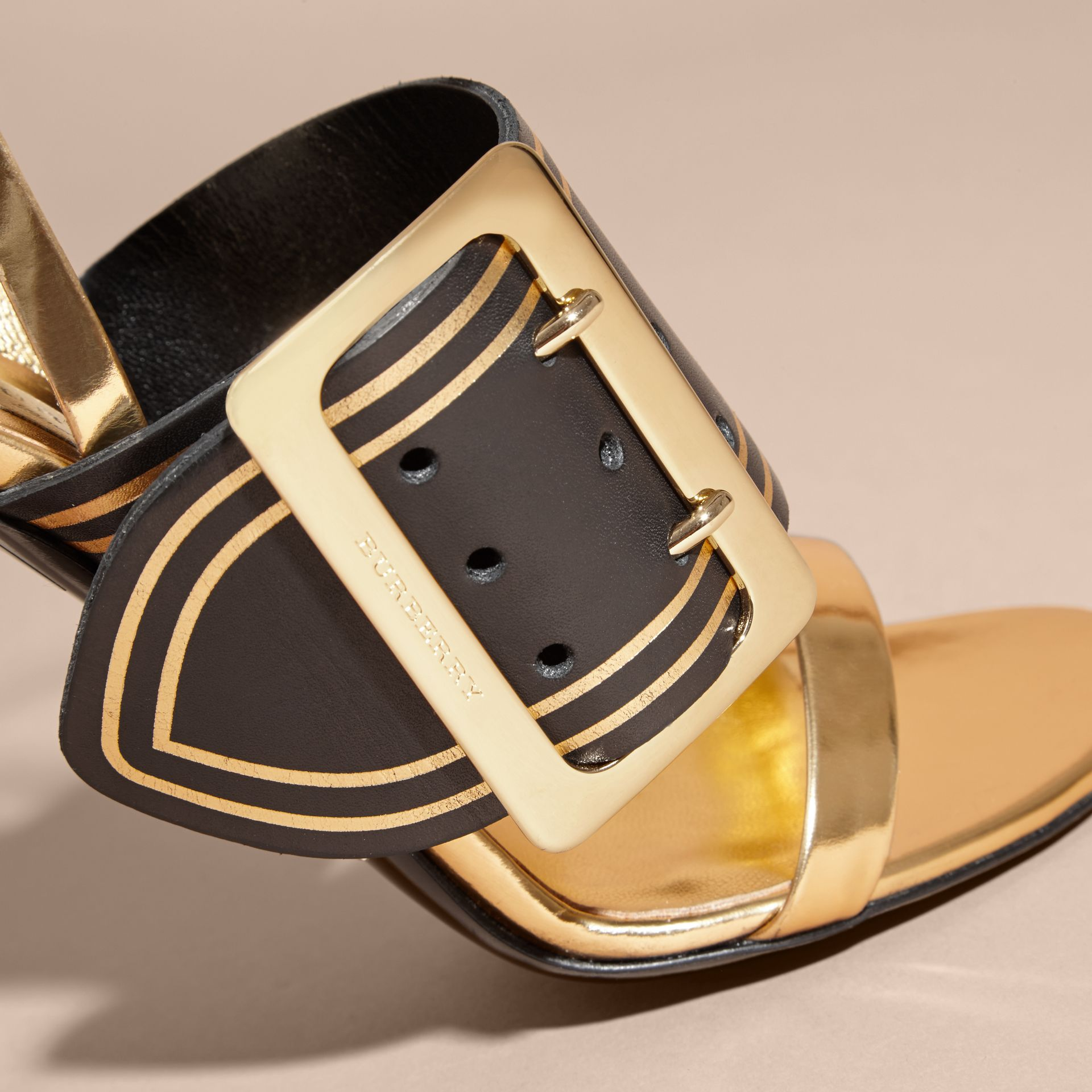 Two-tone Leather Sandals with Buckles - gallery image 2