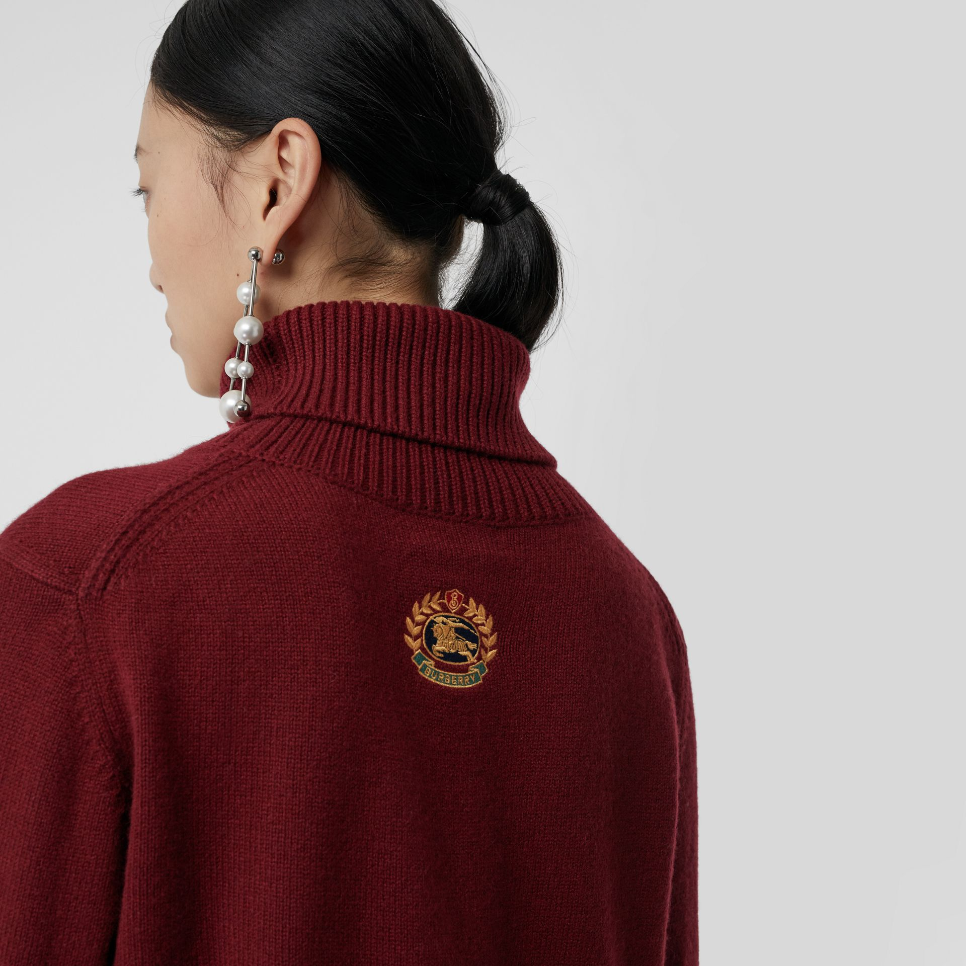 Embroidered Crest Cashmere Roll-neck Sweater in Red - Women | Burberry - gallery image 1