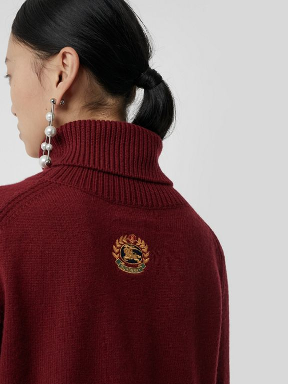 Embroidered Crest Cashmere Roll-neck Sweater in Red - Women | Burberry - cell image 1