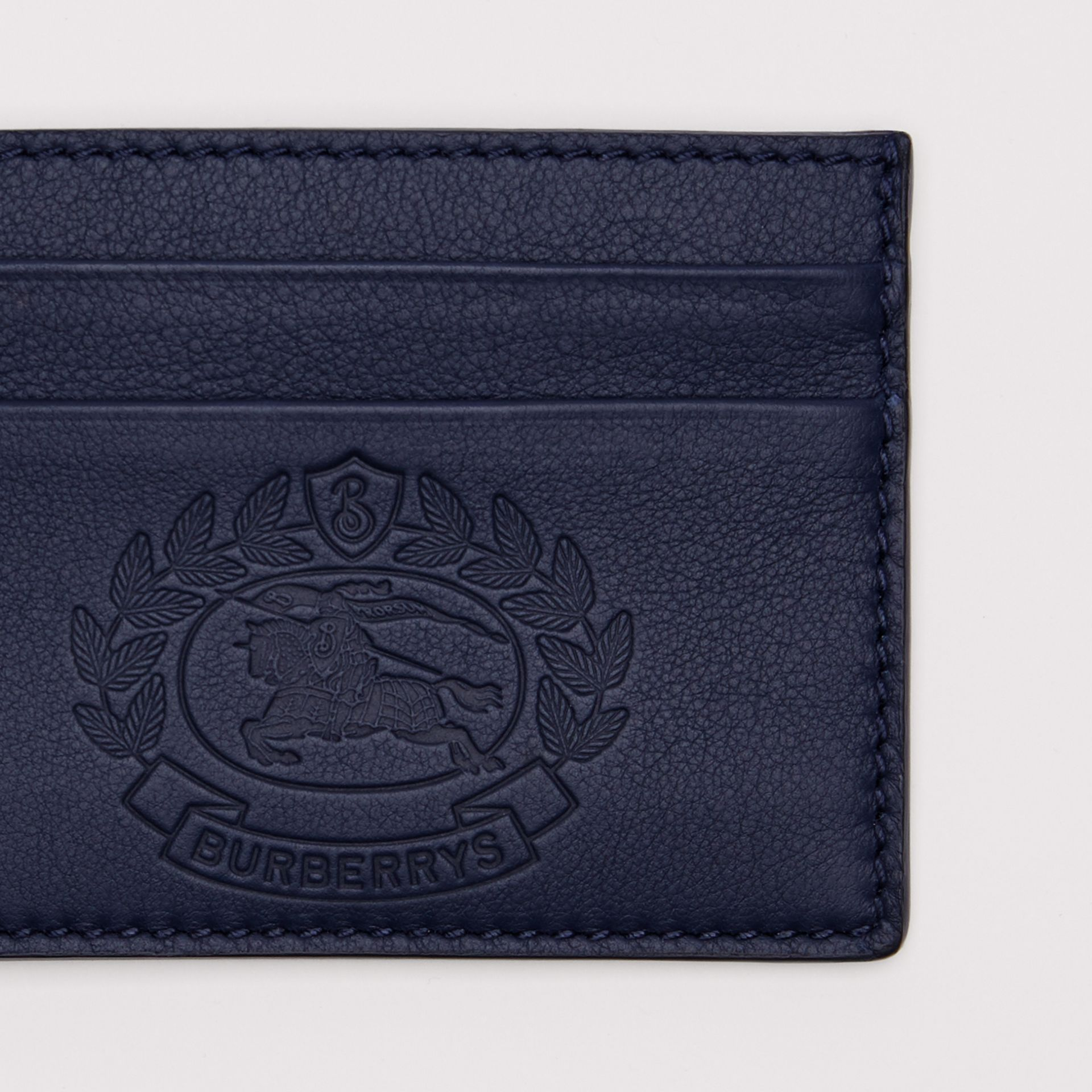 Embossed Crest Leather Card Case in Regency Blue | Burberry - gallery image 1