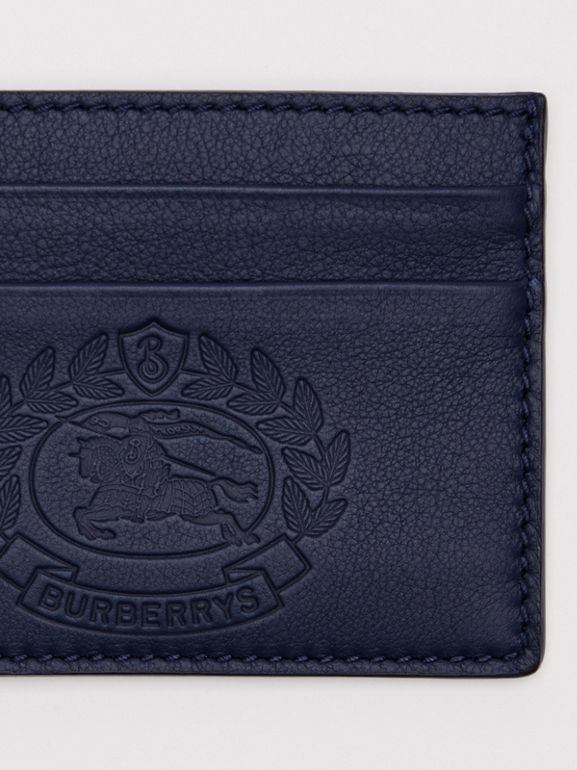 Embossed Crest Leather Card Case in Regency Blue | Burberry - cell image 1