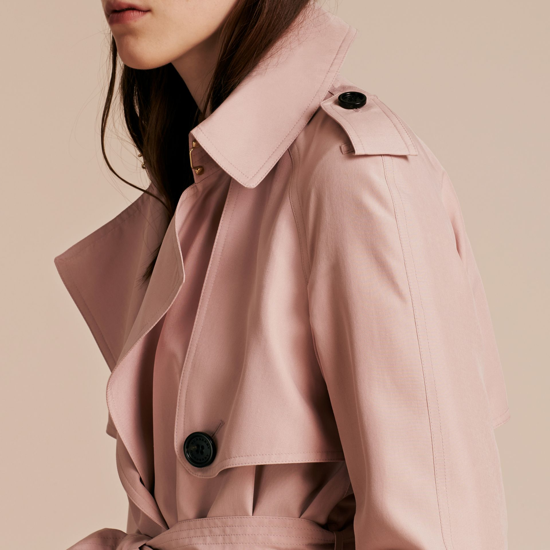 Chalk pink Lightweight Slub Silk Wrap Trench Coat - gallery image 5