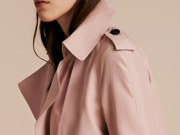 Chalk pink Lightweight Slub Silk Wrap Trench Coat - cell image 4