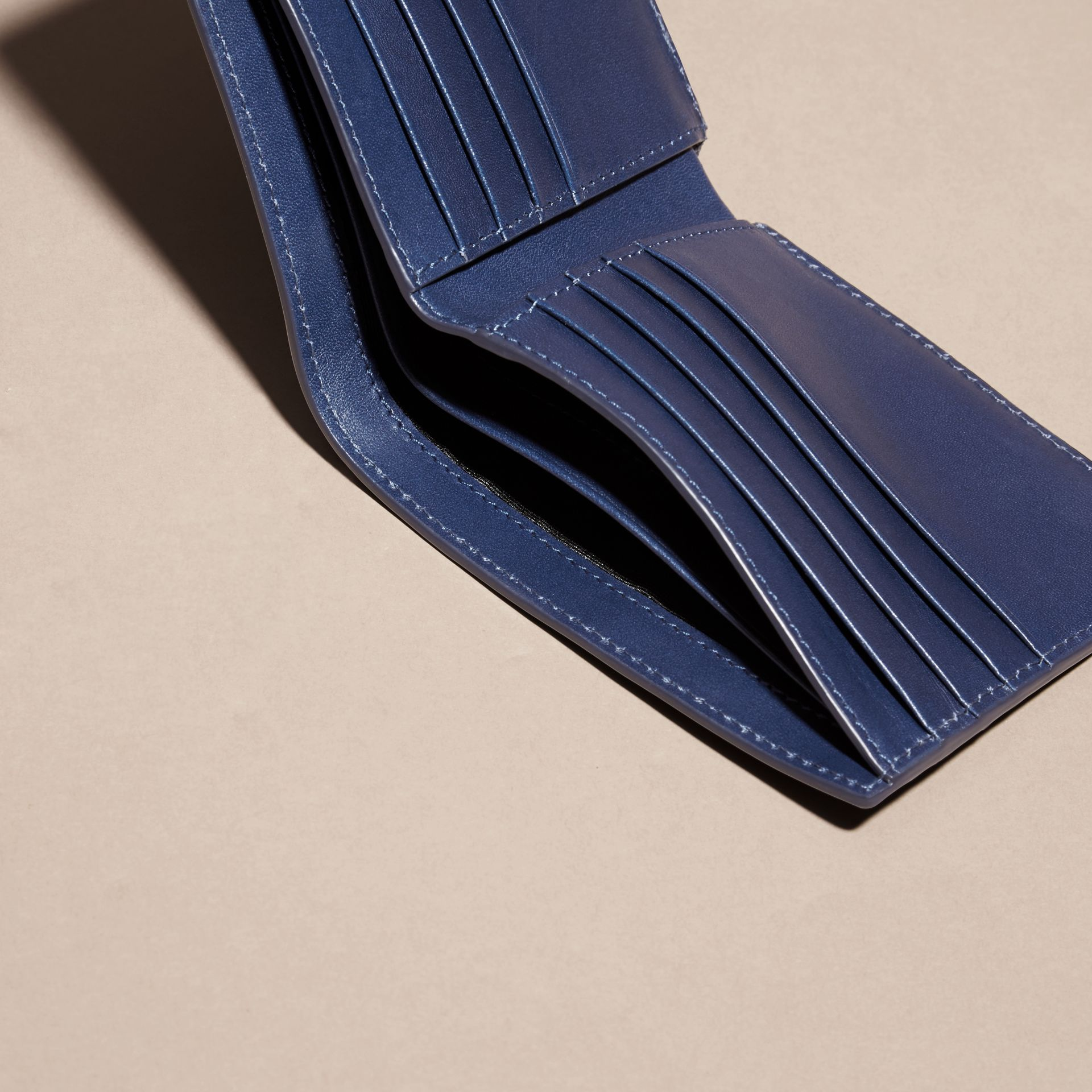 Lapis blue Check-embossed Leather Folding Wallet Lapis Blue - gallery image 4