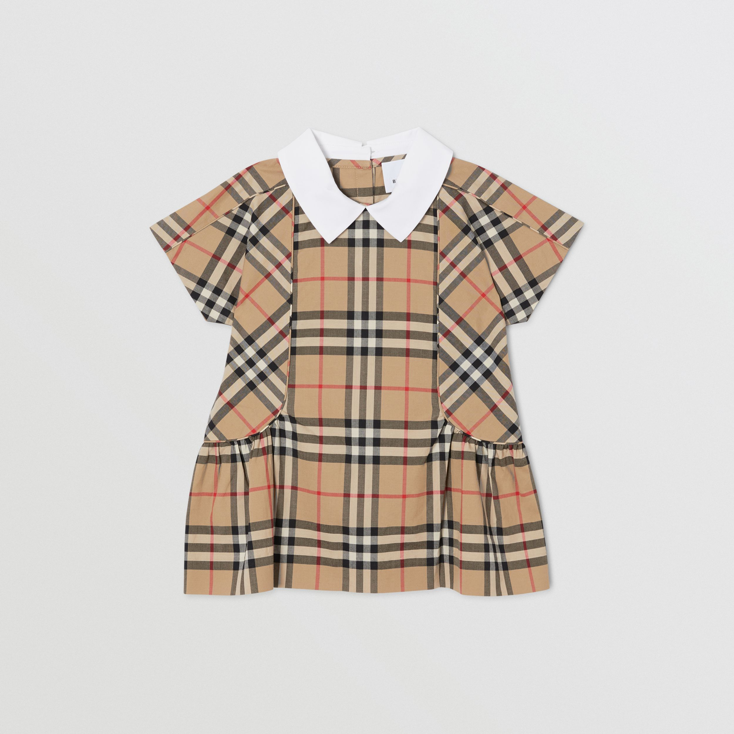 Contrast Collar Vintage Check Cotton Dress in Archive Beige - Children | Burberry - 1