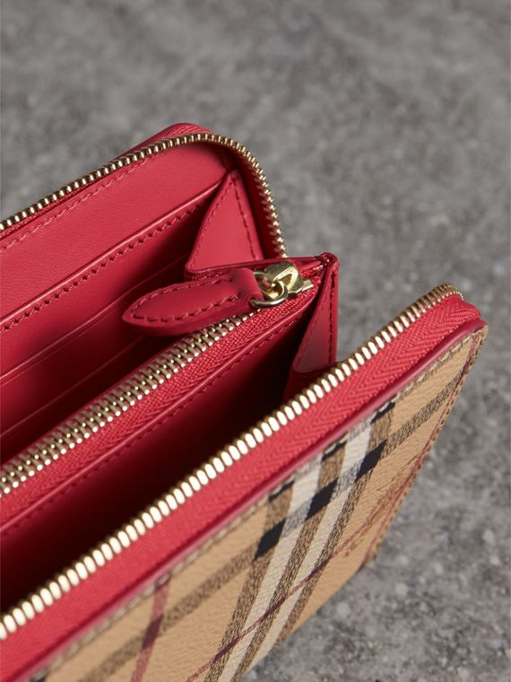Haymarket Check and Leather Ziparound Wallet - Women | Burberry - cell image 3