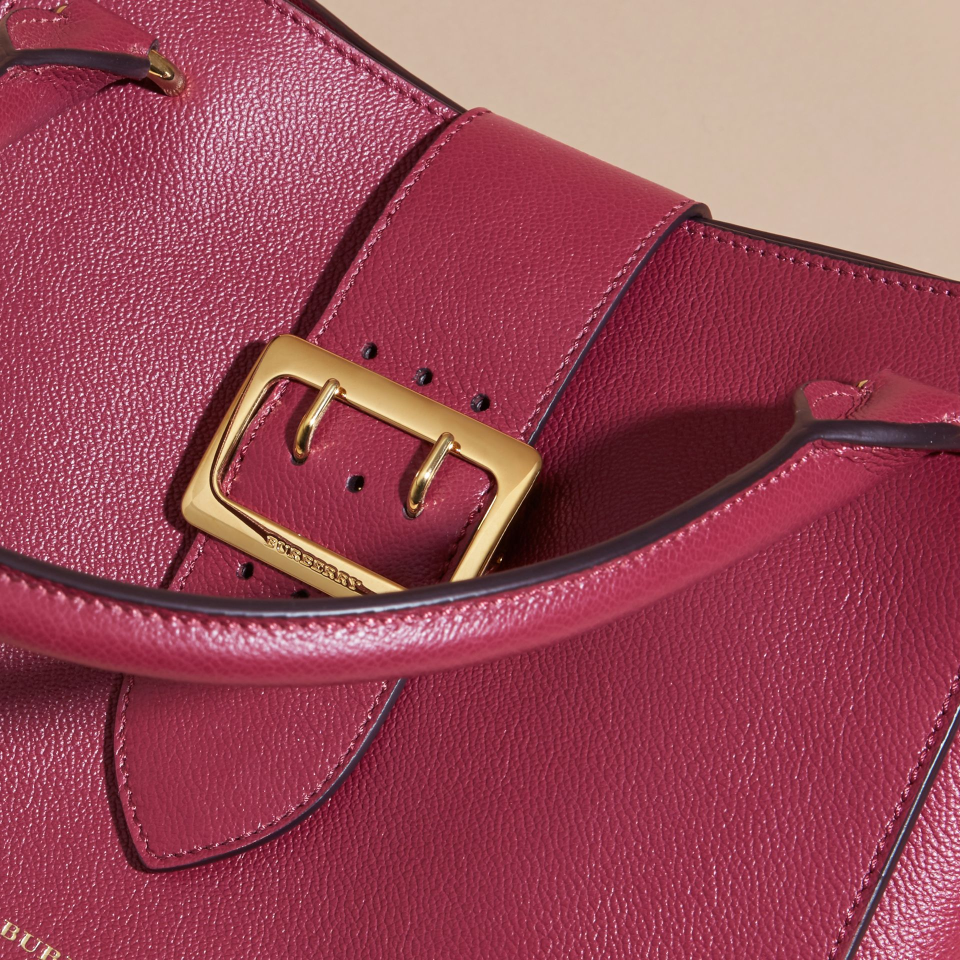 The Medium Buckle Tote in Grainy Leather Dark Plum - gallery image 2