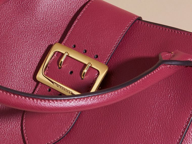 The Medium Buckle Tote in Grainy Leather Dark Plum - cell image 1