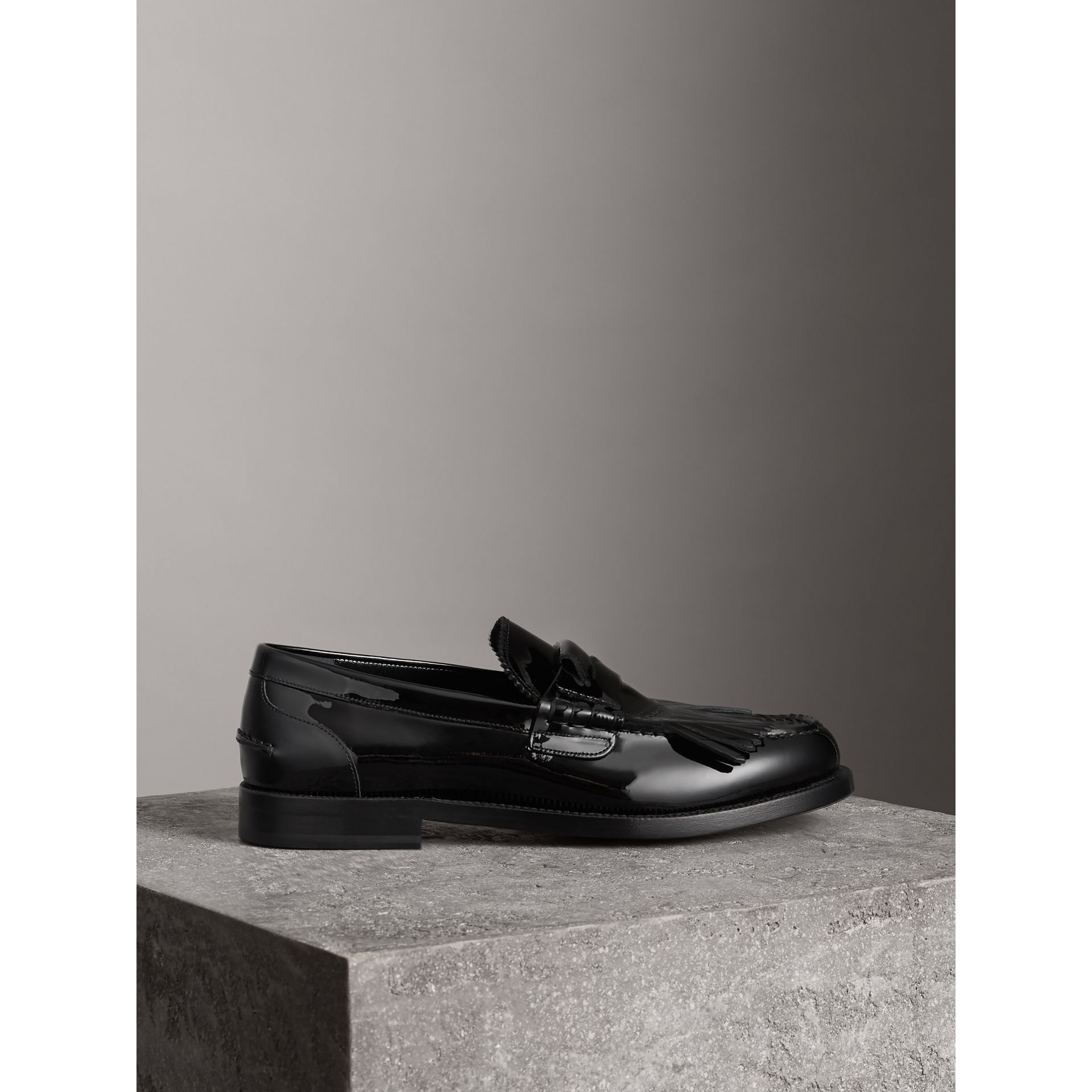 Kiltie Fringe Patent Leather Loafers in Black - Men | Burberry Australia - gallery image 4