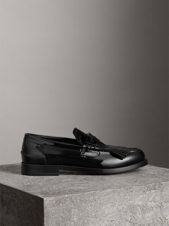 Kiltie Fringe Patent Leather Loafers in Black