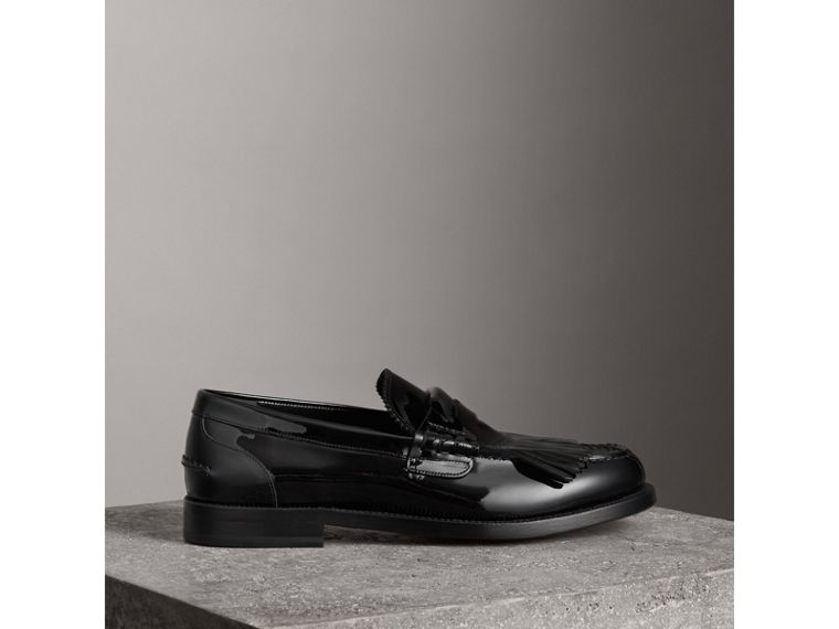 Kiltie Fringe Patent Leather Loafers in Black - Men | Burberry Canada - cell image 4