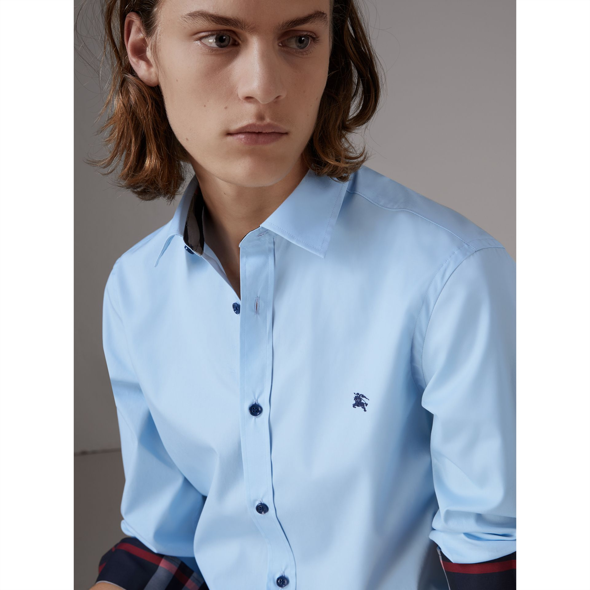 Resin Button Cotton Poplin Shirt in Pale Blue - Men | Burberry - gallery image 1
