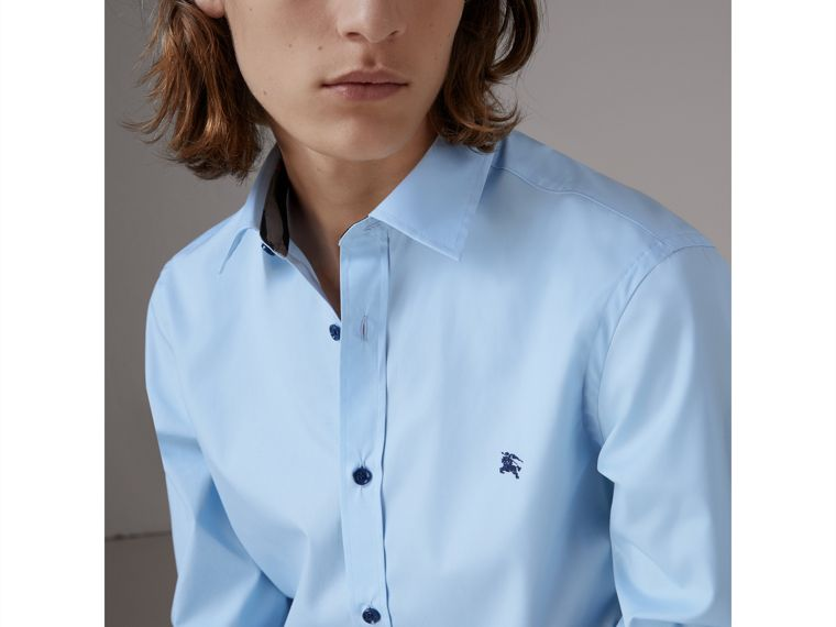 Resin Button Cotton Poplin Shirt in Pale Blue - Men | Burberry United States - cell image 1