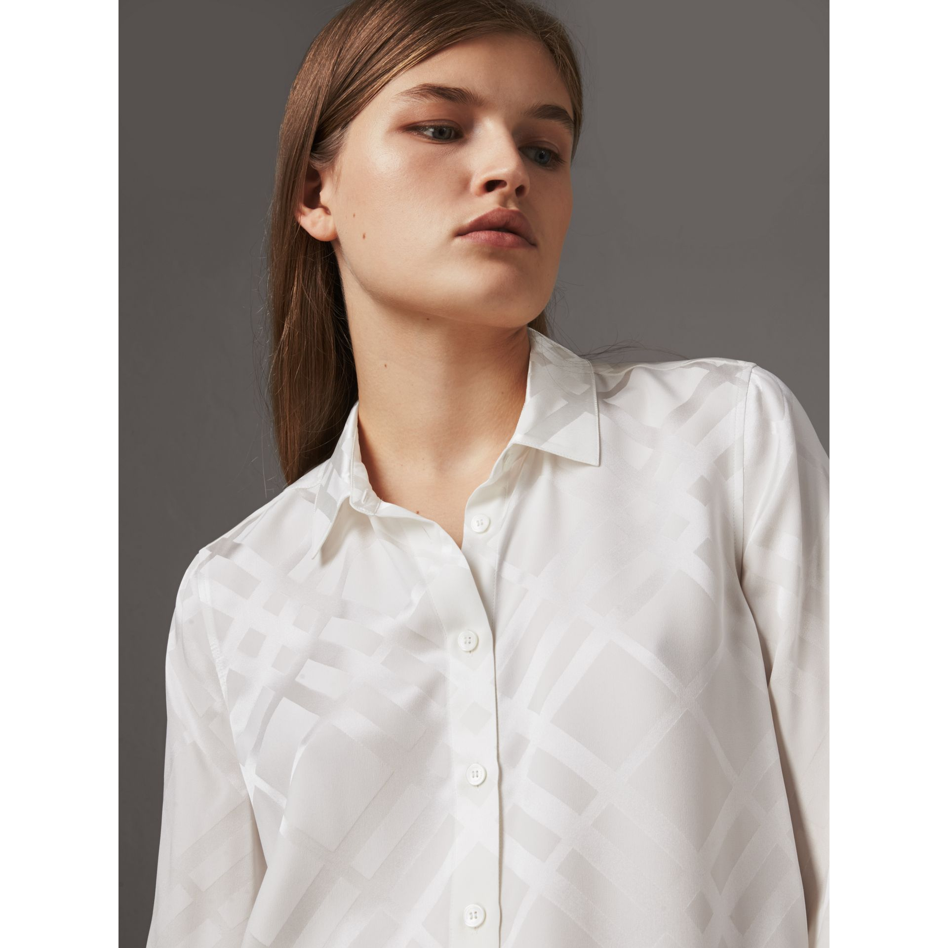 Tonal Check Silk Shirt in White - Women | Burberry - gallery image 1