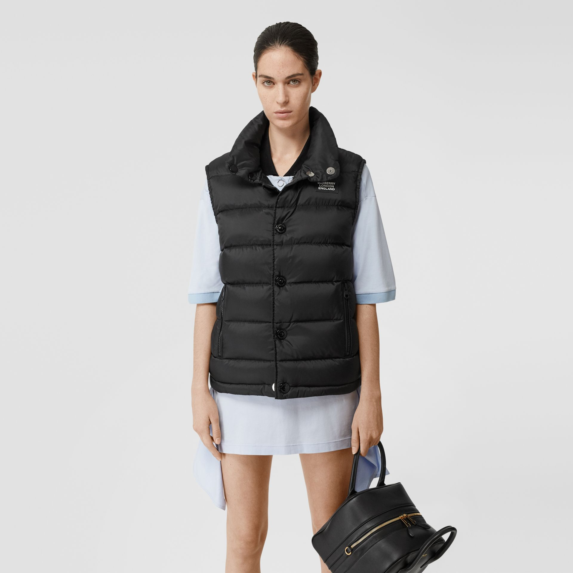 Monogram Stripe Print Puffer Gilet in Black | Burberry - gallery image 6