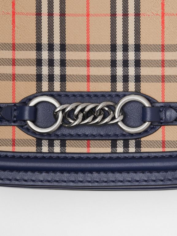 The 1983 Check Link Bag with Leather Trim in Ink Blue - Women | Burberry United Kingdom - cell image 1