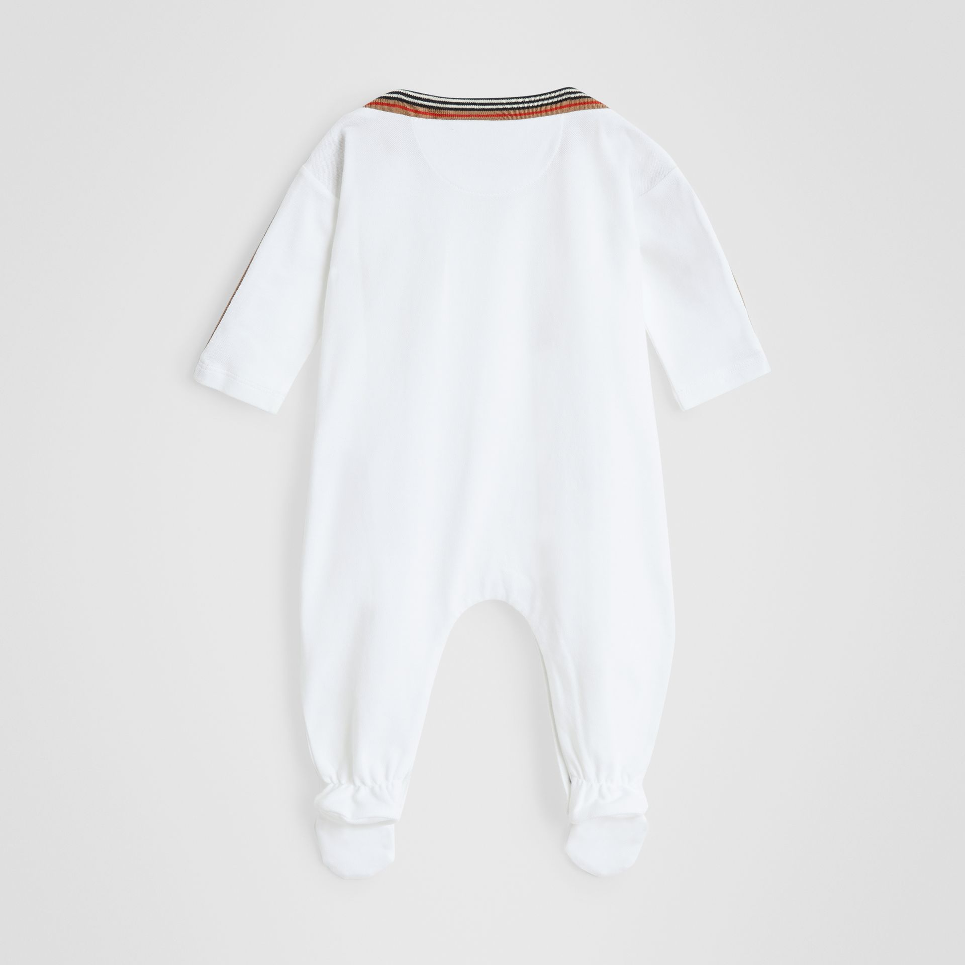 Icon Stripe Cotton Piqué Two-piece Baby Gift Set in White - Children | Burberry Singapore - gallery image 3