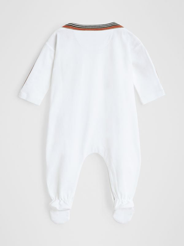 Icon Stripe Cotton Piqué Two-piece Baby Gift Set in White - Children | Burberry Canada - cell image 3