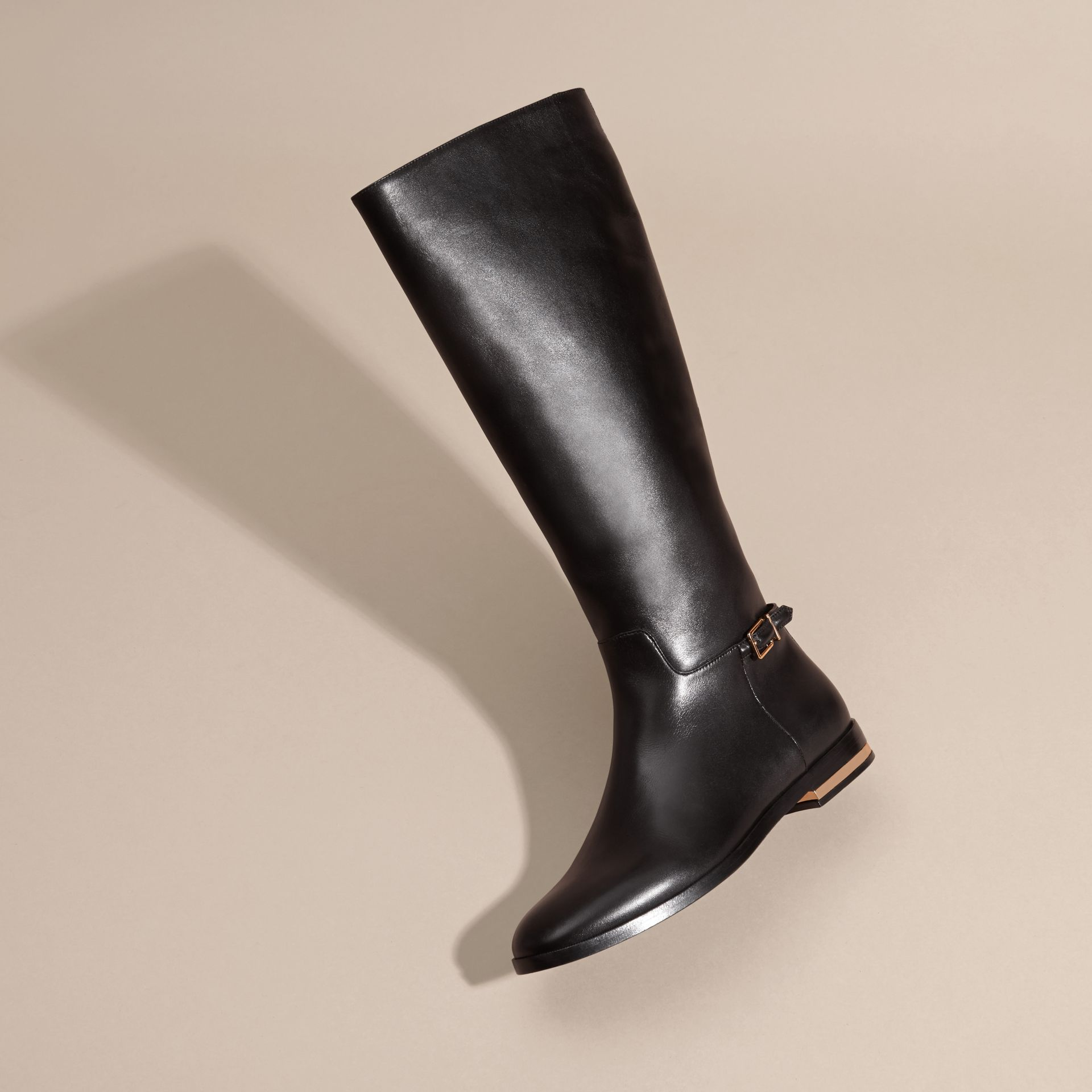 Black Knee-high Leather Riding Boots - gallery image 3