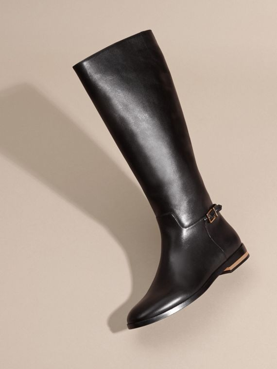 Black Knee-high Leather Riding Boots - cell image 2