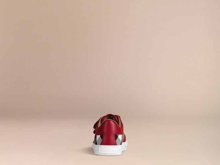 House Check and Leather Trainers in Parade Red | Burberry - cell image 2