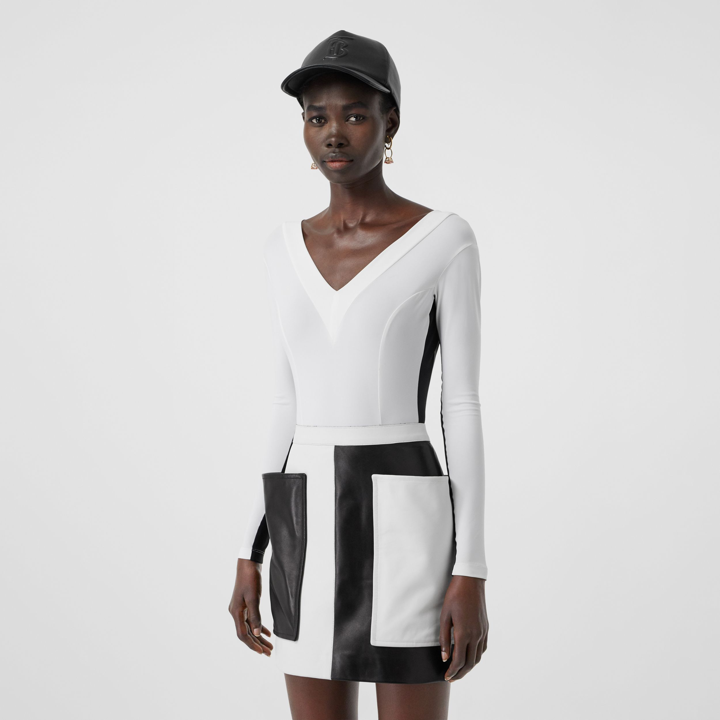 Two-tone Stretch Jersey Bodysuit in Optic White - Women | Burberry - 1