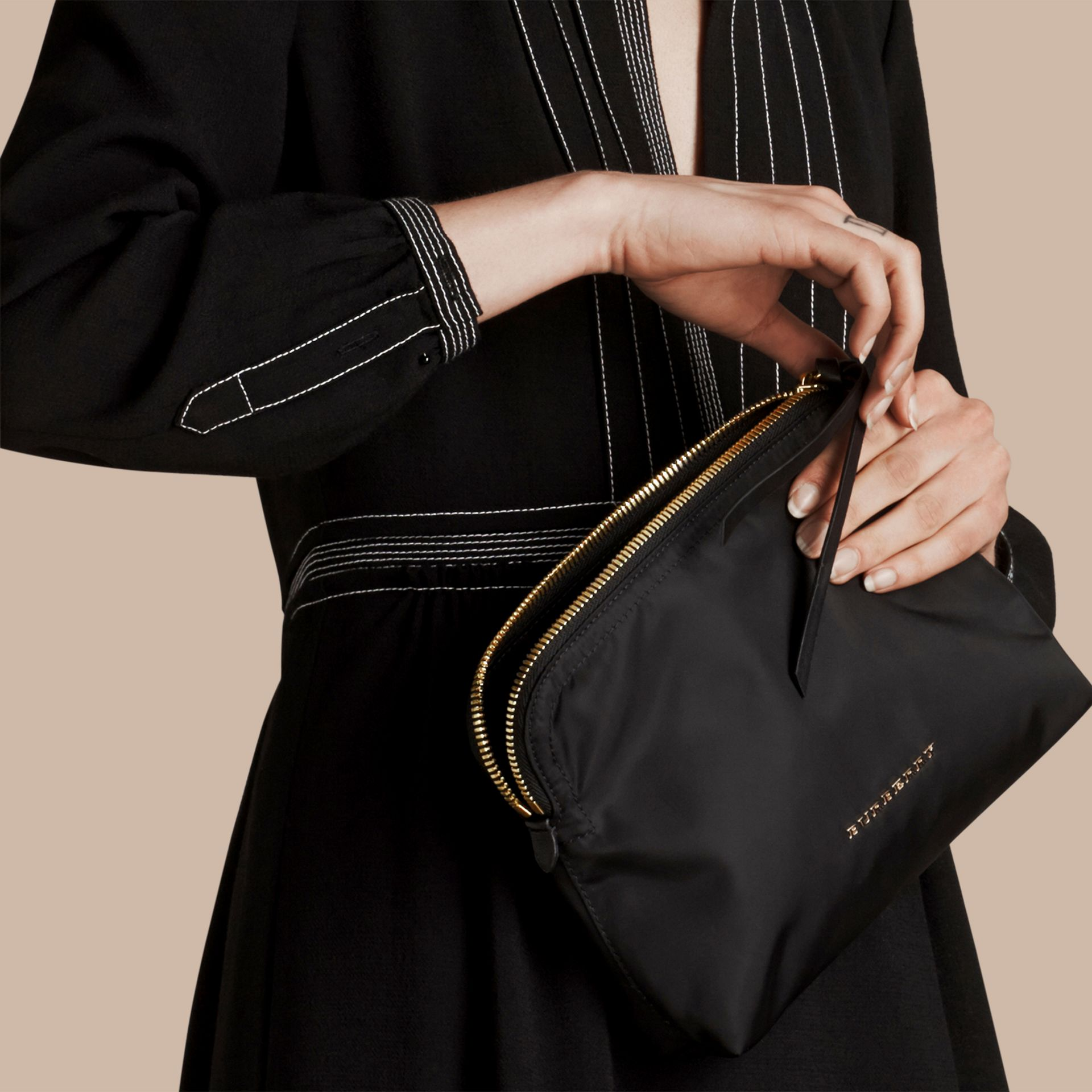 Large Zip-top Technical Nylon Pouch in Black - Women | Burberry Australia - gallery image 3