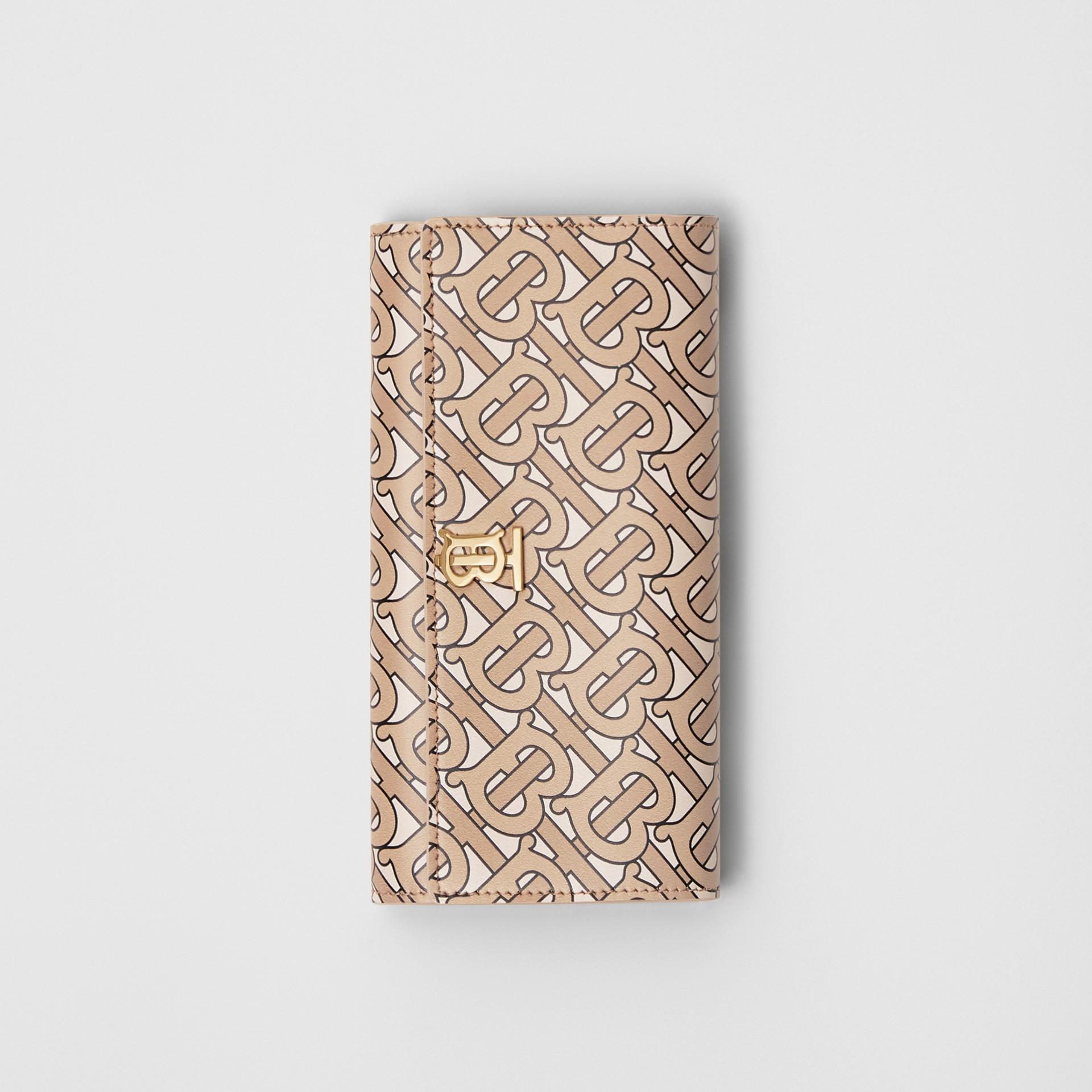 모노그램 프린트 가죽 장지갑 (베이지) - 여성 | Burberry - 갤러리 이미지 2
