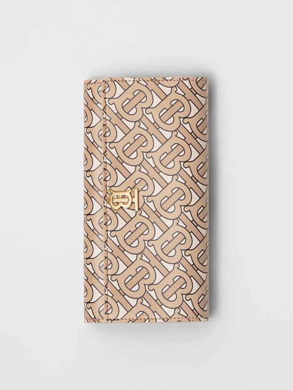 Monogram Print Leather Continental Wallet in Beige - Women | Burberry - cell image 2