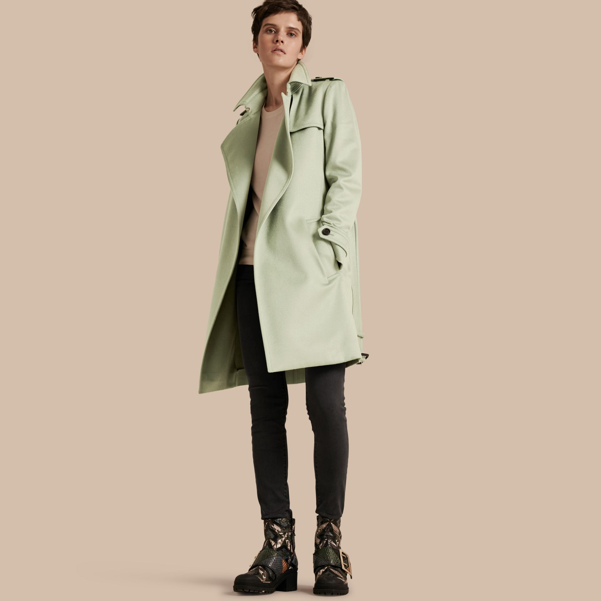 Pale eucalyptus Cashmere Wrap Trench Coat - gallery image 1