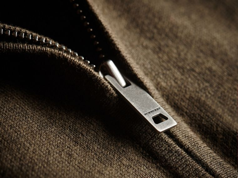 Check Detail Cotton Zip-front Cardigan in Olive Melange - Children | Burberry - cell image 1