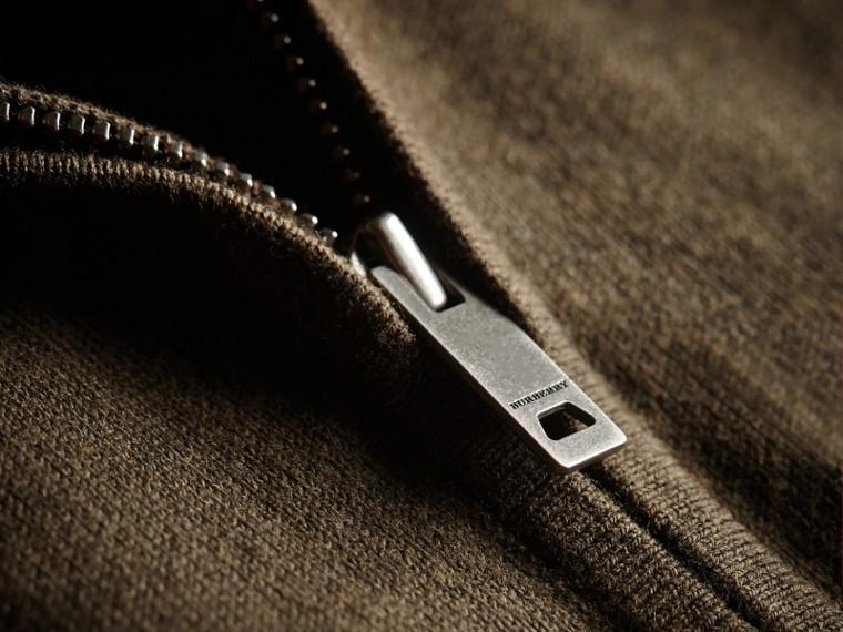 Cardigan in cotone con cerniera e dettaglio tartan (Oliva Mélange) - Bambino | Burberry - cell image 1