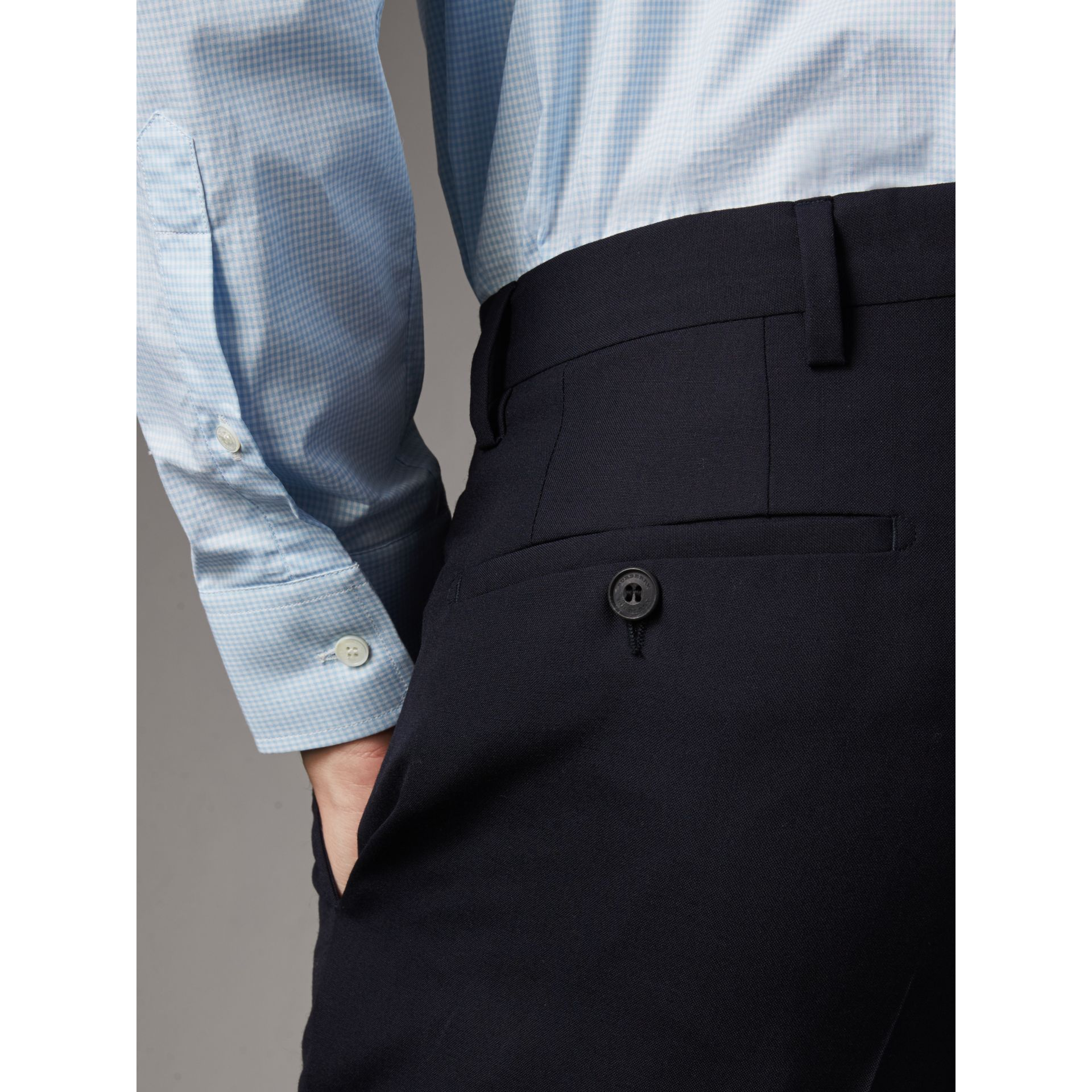 Modern Fit Wool Trousers in Navy - Men | Burberry United States - gallery image 1