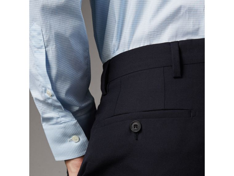Modern Fit Wool Trousers in Navy - Men | Burberry Canada - cell image 1