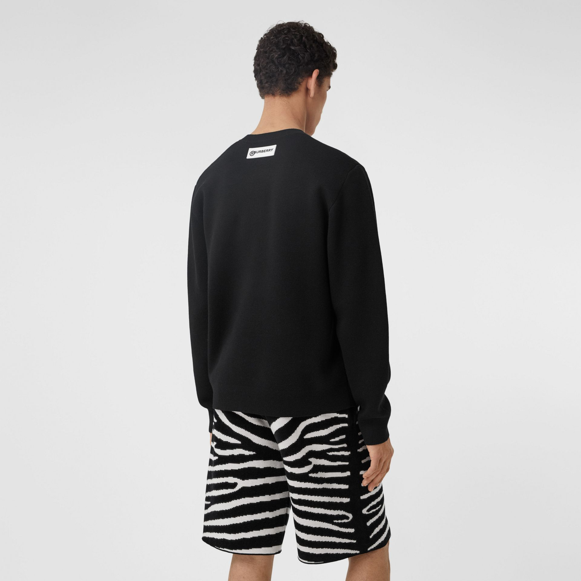 Zebra Wool Jacquard Sweater in Black | Burberry - gallery image 2