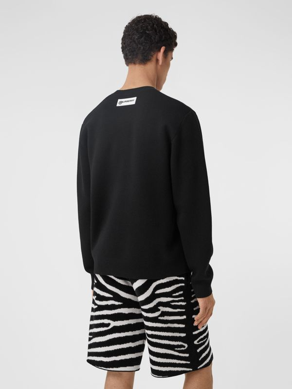 Zebra Wool Jacquard Sweater in Black | Burberry - cell image 2