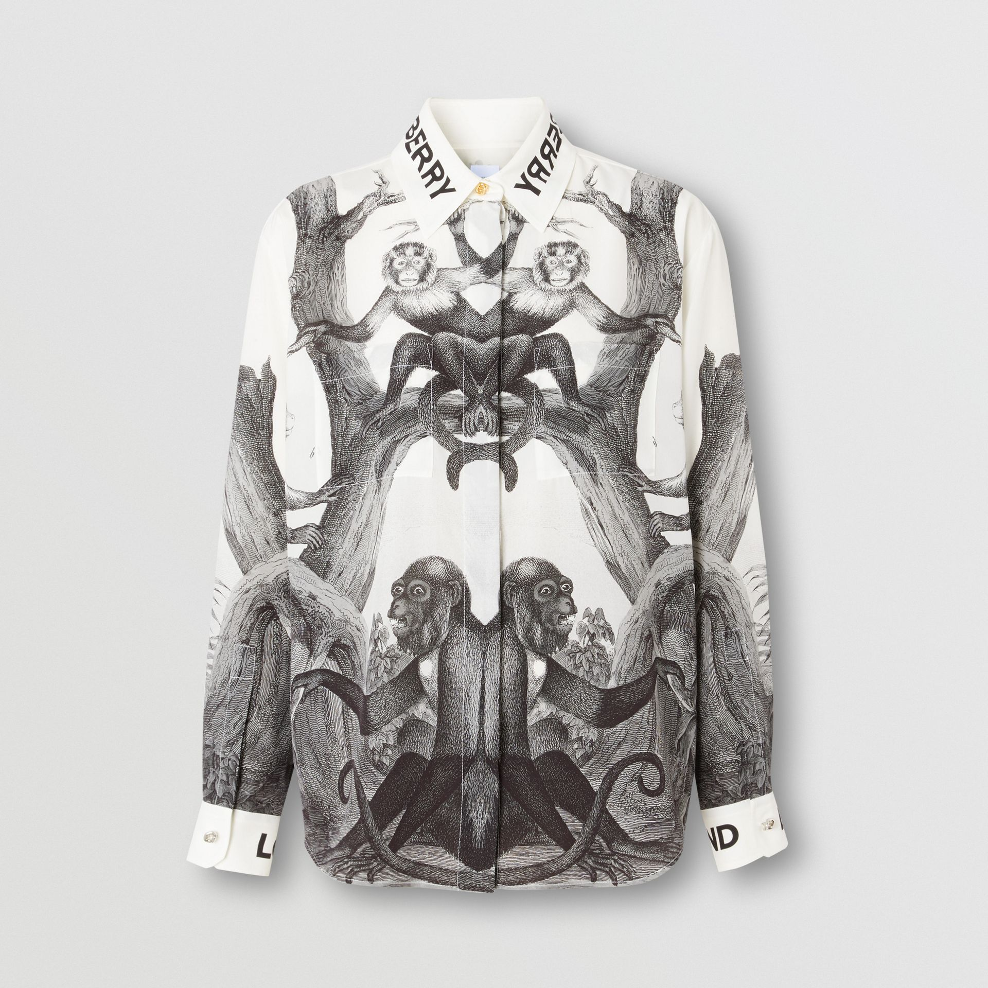 Montage Print Silk Shirt in Monochrome | Burberry - gallery image 3