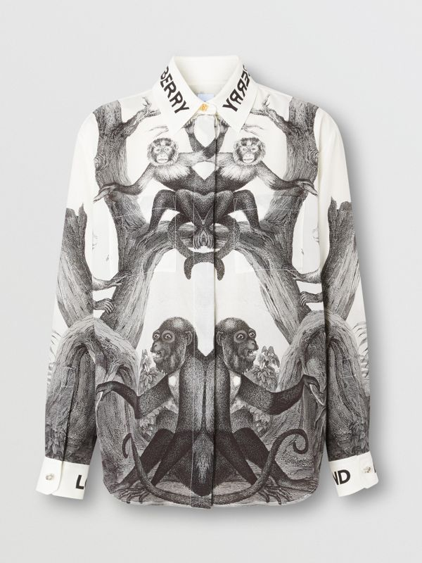 Montage Print Silk Shirt in Monochrome | Burberry - cell image 3