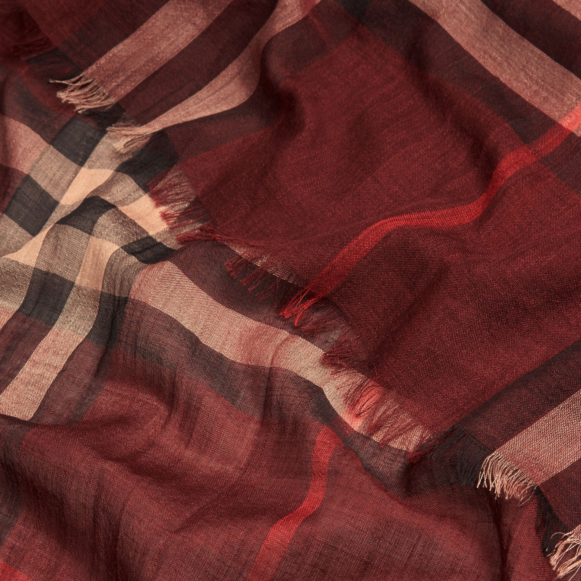 Claret Lightweight Check Wool and Silk Scarf Claret - gallery image 2