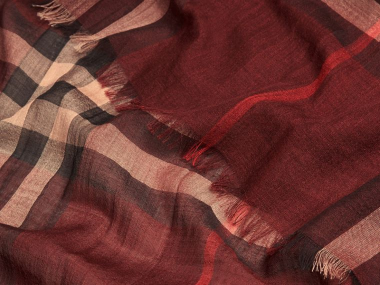 Claret Lightweight Check Wool and Silk Scarf Claret - cell image 1