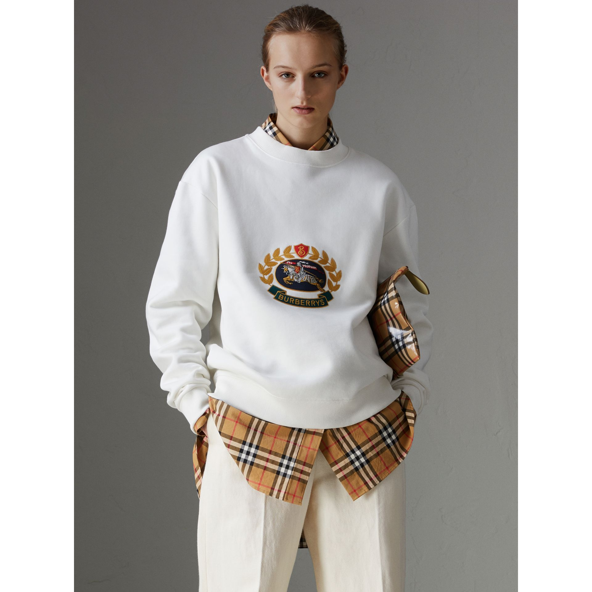 Reissued Jersey Sweatshirt in Off White - Women | Burberry - gallery image 4