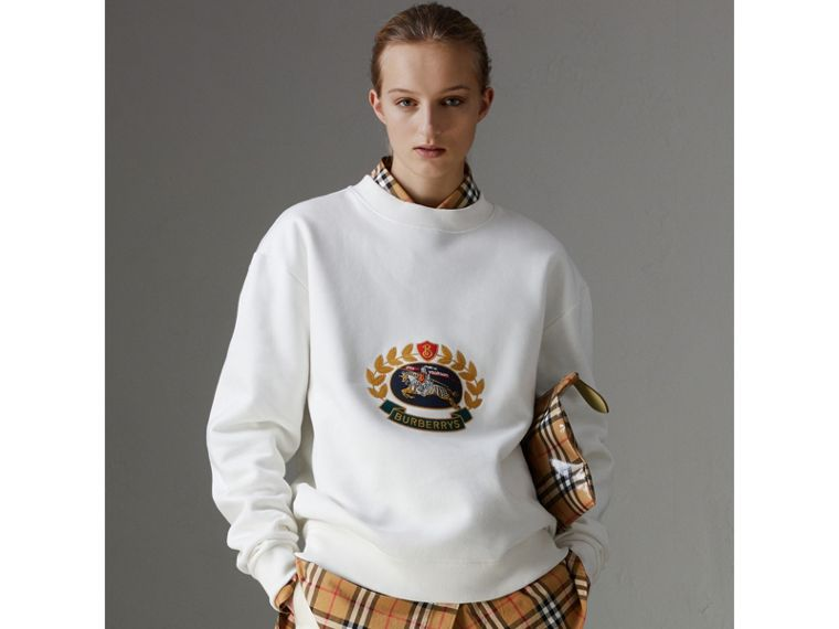 Reissued Jersey Sweatshirt in Off White - Women | Burberry - cell image 4