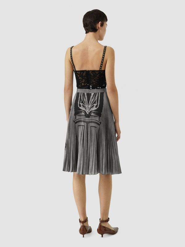 Polka Dot and Victorian Portrait Print Dress in Black/white - Women | Burberry Canada - cell image 2